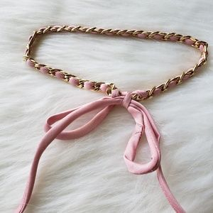 Jewelry - Baby Pink Gold Twist Ribbon Tie Choker Necklace